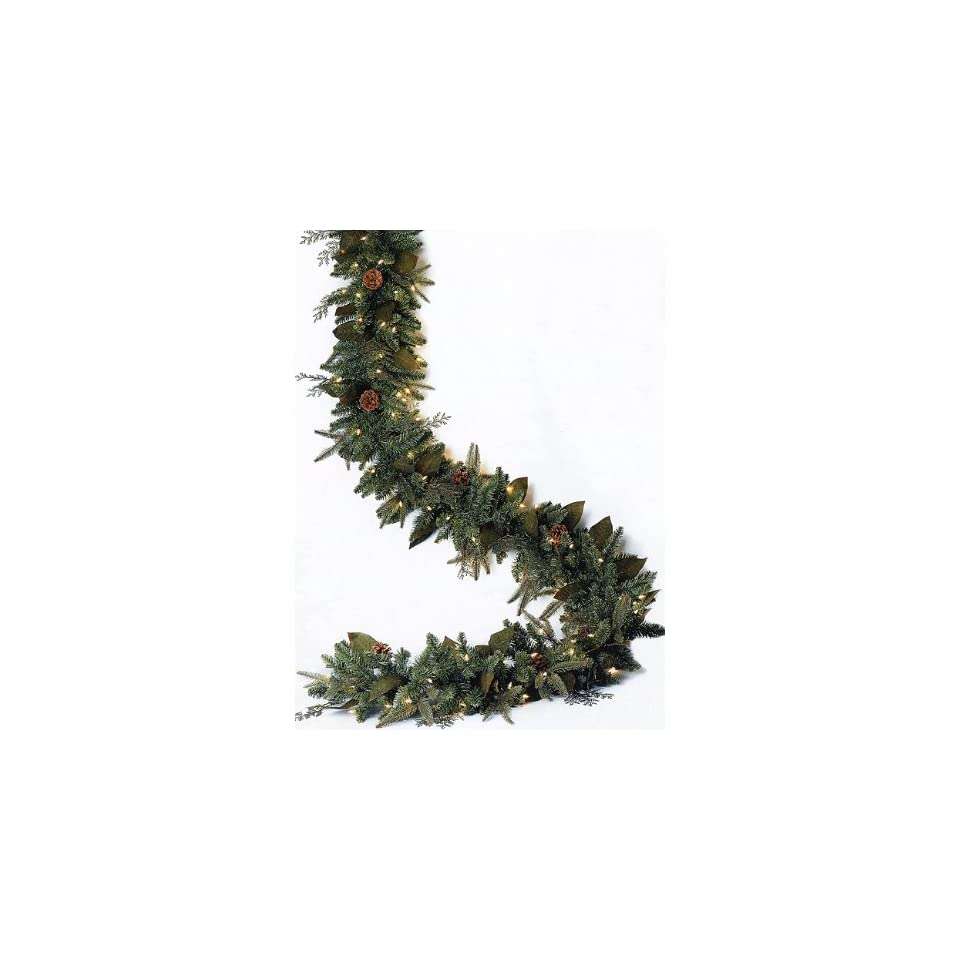 6 x 12 Pre Lit Green River Spruce Artificial Christmas Garland   Clear Lights