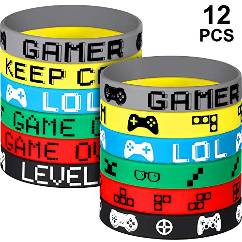 Mario Birthday Supplies (12 Pieces Video Game Bracelets Rubber Bracelets Game Party Wristbands Supplies Colored Silicone Bracelets for Gamer Birthday Party Favors, 6 Styles (12)