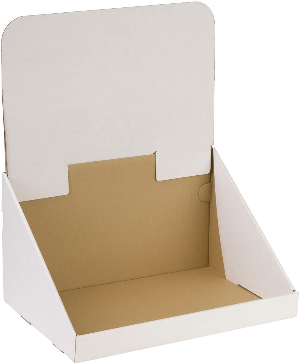 Corrugated Cardboard White Countertop Bin Display with Removable Header Single Compartment Set of 20