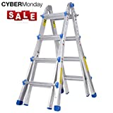 Toprung 17 Feet Aluminum Extension Ladder, 300bls Duty Rating Multi-Purpose Professional Ladder