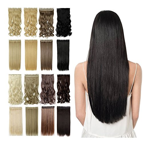 13colors Synthetic Fiber Clips in on Hair Extension 1B Off Black 3/4 Full Head One Piece 5 Clips Long Straight Curly Wavy 23 Inches Natural Black
