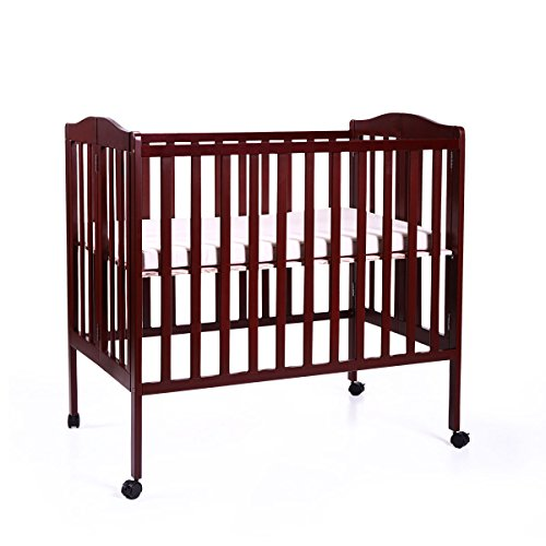 Tobbi Baby Side Crib Wooden Toddler Bed Day Bed Full Bed Convertible w/Mattress Nursery Furniture Coffee