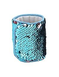 Mermaid Bracelet for Party Favors, Christmas Gifts, Two-color Reversible Charm Sequins Wristband Magic Calming Bracelets for Kids, Girls, Boys - Super-soft Velvet Lining (Blue&Silver, velvet)