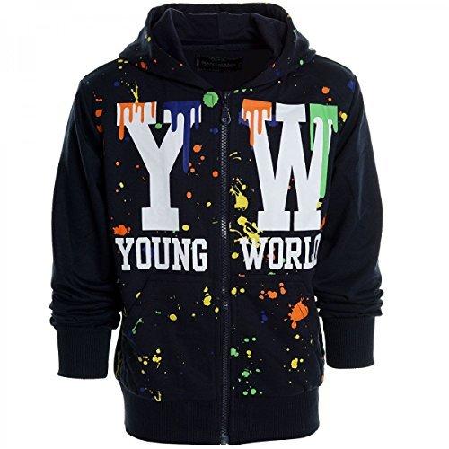 Kinder Pullover Kapuzenpullover Hoodie Jacke Sweatshirt Kapuzen Sweatjacke 20438, Farbe:Navy;Größe:176