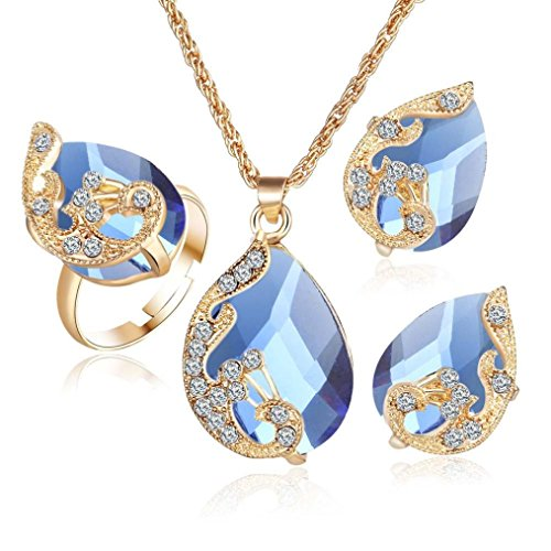 Clearance!Women Party Necklace,Todaies Fashion Jewelry Sets For Women Crystal Necklace Ring Earrings Wedding 4 Colors (3PCS, Blue)]()