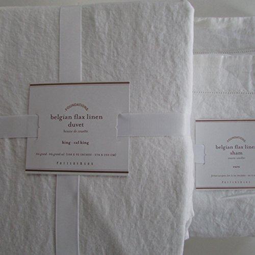 Pottery Barn BELGIAN LINEN FLAX Duvet Cover King/California King & Two Euro Shams~*White*~ (Pottery Barn White Duvet Cover)