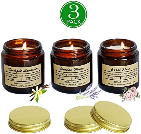 Scented Candles Soy Candle Rustic Scented Candle Soy Candles Amber Jar Candles Scented Natural Stress Relief Candle Apartment Essentials New Home Gift Ideas House Decor Long Lasting Candle-3 pack