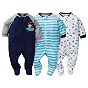 Gerber Sleep N' Play 0-3 Months Baby Boys Monkey Outfits 3 Pack