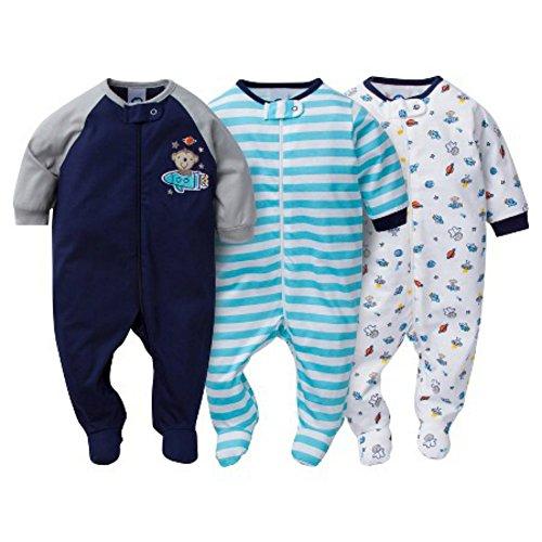Gerber Sleep N' Play 0-3 Months Baby Boys Monkey Outfits 3 Pack