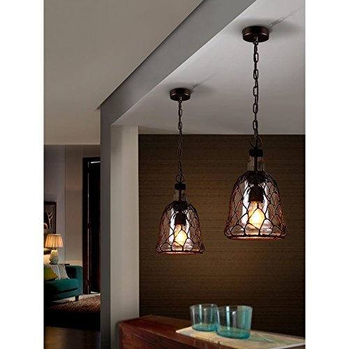 Schuller Spain 359321I4L Traditional oxide black Mesh Ceiling Pendant Hanging Ceiling Light Pendant 1 Light Dining Room, Living Room, Hallway | ideas4lighting by Schuller