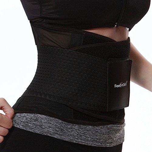 FeelinGirl - Faja transpirable para cintura, posnatal, cinturón de adelgazamiento negro