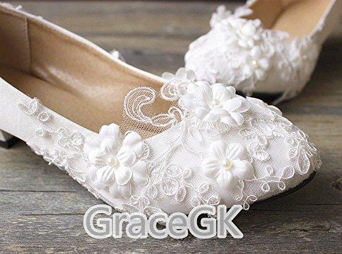 Blanc JINGXINSTORE Dentelle Fleurs Blanc Chaussures de mariage mariée Pompe basse Haut Talon Taille 3–10 UK4.5=EU38