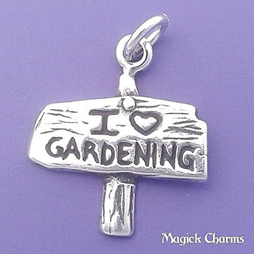 925 Sterling 3-D I Love Gardening Charm Garden Sign Pendant Jewelry Making Supply, Pendant, Charms, Bracelet, DIY Crafting by Wholesale Charms