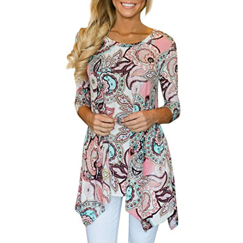Wintialy Women's Tunic Top- Pools of Pink Long Sleeve O-Neck Knit Blouse