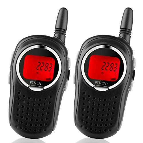 STOTOY Kids Walkie Talkies 22 Channel FRS VOX 2 Way 6KM Long Range Radio for Kids(1 Pair) (Black)