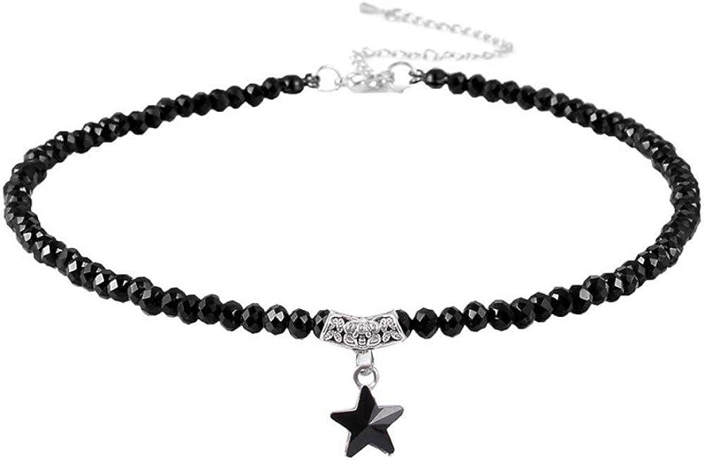 Qingerda Collar, Estrella de Cinco Puntas de Cristal, Colgante con Borla de Perlas, Collar Corto, espinela Negra, Cadena de clavícula, Cadena de Cuello, A