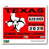Texas TX Zombie Hunting License Permit Red - Biohazard Response Team - Window Bumper Locker Sticker