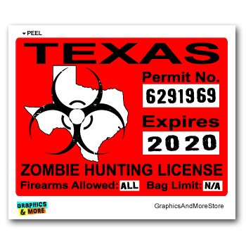 Texas Zombie Hunting License Permit