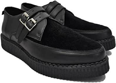 Altercore Angus Zapatos Hombre Creepers Negro Vegan Ecocuero Punk Hebilla