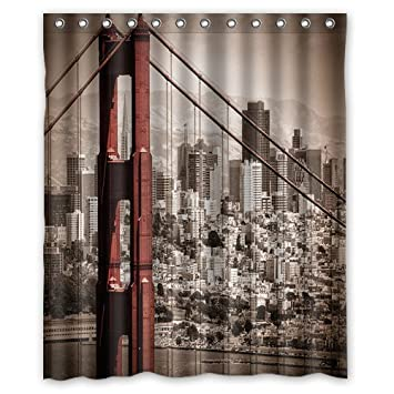 Image Unavailable Not Available For Color San Francisco Through The Bridge Fashion Shower Curtain
