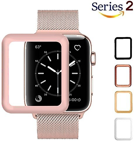 Josi Minea Apple Watch [38mm] 3D Curved Tempered Glass Screen Protector with Edge to Edge Coverage Anti-Scratch Ballistic LCD Cover Premium Guard HD Shield for Apple Watch Series 2-38mm [Rose (Premium Lcd Screen Protector)