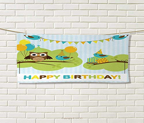 Anniutwo Kids Birthday,Travel Towel,Cartoon Owl Bird Tree Br