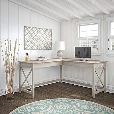 Bush Furniture KWD160WG-03 Key West 60W L Shaped Desk in Washed Gray