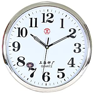 Wall Clock Werlm Retro Simple Bedroom Living Room Round Living Room Mute Bedroom