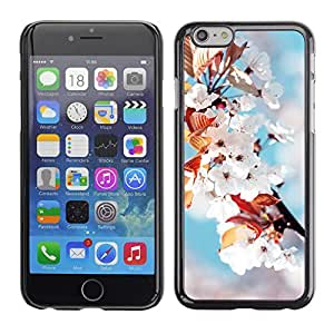 EJOY---Cubierta de la caja de protección la piel dura para el / iPhone 6 / --Flores blancas