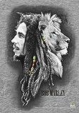 Heart Rock Drapeau original Bob Marley en tissu, 110x 75x 0,1cm