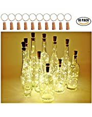 [Pack of 10]LED String Lights,Wine Bottle Lights with Cork, 2 Meters with 20 LED Copper Wire String Lights for Bottle DIY Decor,Outdoor BBQ, Gathering, Party, Wedding, Holiday(Warm White)