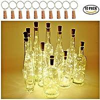 Lumières de bouteille de LED avec le liège 2M avec 20 lumières de ficelle de fil de cuivre de LED pour la bouteille DIY Decor, BBQ extérieur, partie, mariage, vacances (blanc chaud) (paquet de 10)