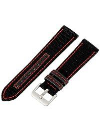 Hadley-Roma Men's MSM848RQ 220 22mm Black Genuine 'Kevlar' with Red Stitching Watch Strap