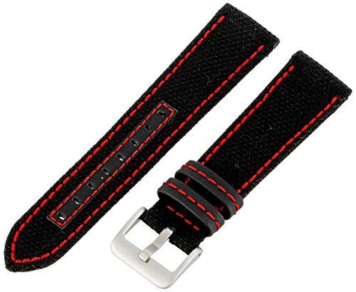 Hadley-Roma Men's MSM848RQ 220 22-mm Black Genuine 'Kevlar' with Red Stitching Watch Strap