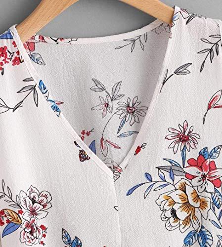 Courtes Elgante Casual Tshirt Haut Dbardeur Impression Fleurs Branch paules V Confortable Mousseline Tee 02 Mode Shirt Nues Femme Debardeur White Battercake Manches Cou Dame Et 4ctZZq