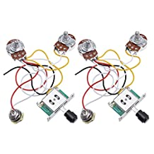 Kmise Prewired Wiring Harness Kit 3 Way Toggle Switch 250K Pots Jack for Fender Telecaster Tele Electric Guitar Parts 2 Set