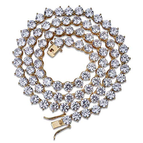 - JINAO 18k Gold Plated 1 Row 4/6MM Lab Simulated Diamond Iced Out Men's Hiphop 3 Prong Tennis Chain Necklace (Gold-6MM, 18)