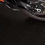 Garage Floor Mat. Solid Polyvinyl G-Floor Diamond Tread Roll Out Flooring Easy to Install Garage Floor Mat, 7.5 ft. x 20 ft. in Midnight Black