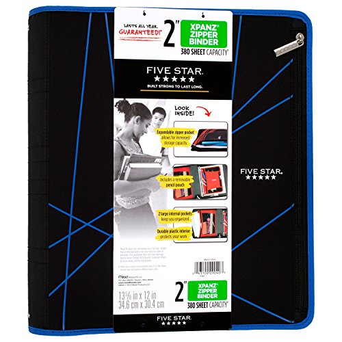 Five Star 2 Inch Zipper Binder, Ring Binder, Xpanz, Blue Lines Design (73232)