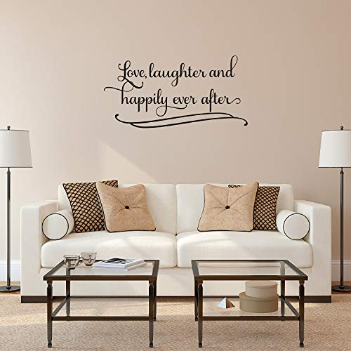 Imprinted Designs Love Laughter and Happily Ever After Couples Romantic Bedroom Vinyl Wall Decal Sticker Art