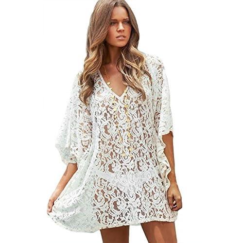 Spikerking Womens Fashion Beach Wear Crochet Lace Cover Uphalf