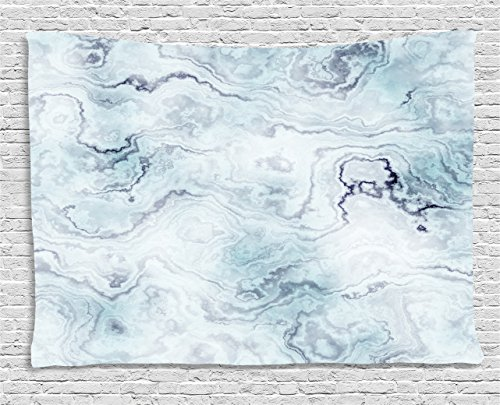Ambesonne Marble Tapestry, Soft Pastel Toned Abstract Hazy Wavy Pattern with Ottoman Influences Image, Wall Hanging for Bedroom Living Room Dorm, 80 W X 60 L Inches, Light Blue Grey Mint