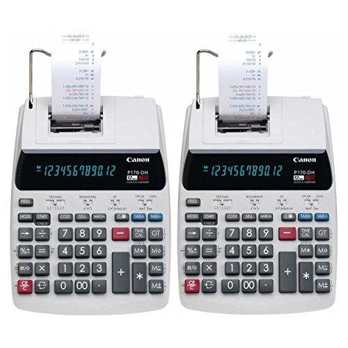Canon P170-DH-3 Desktop Printing Calculator with Currency Conversion, Clock & Calendar, and Time Calculation 2 Pack