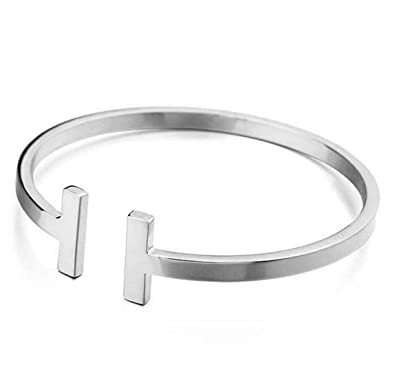 fc1f7316bc3 T Bar End Women Silver Bangle Bracelet Made from Solid 925 Sterling Silver:  Amazon.co.uk: Jewellery