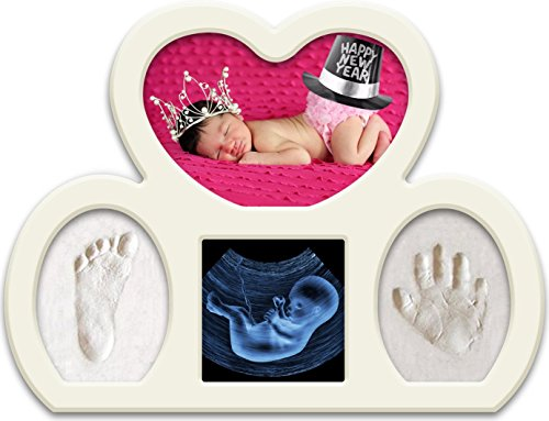 Newborn Babyprints Kit for Boys and Girls. Great Baby Shower Favor and Registry Idea. Baby Footprint and Handprint Photo Frame Keepsake. White from Epicoz Baby