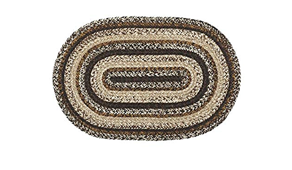 """Welcome Y/'All Braided Rug Country Farmhouse Jute Oval 20/"""" x 30/"""" Black Tan"""