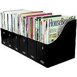 Evelots Set of 6 Magazine File Holders Desk Organizer, File Storage with Labels, Black
