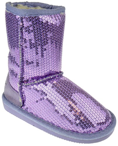 Pom-016KM Little Girls Sequin Slip On Shearling Boots Purple 10 -