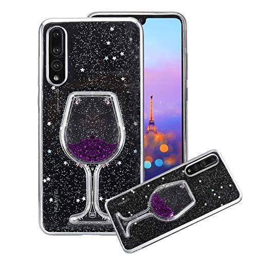 Price comparison product image Aearl Huawei P20 Pro Liquid Glitter Case, 3D Creative Love Heart Wine Glass Luxury Bling Diamond Purple Star Flowing Floating Quicksand Clear Soft TPU Phone Case for Huawei P20 Pro (6.1 inch)