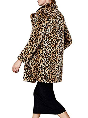 Shilanmei Women Warm Long Sleeve Parka Faux Fur Coat Overcoat Fluffy Top Jacket Leopard